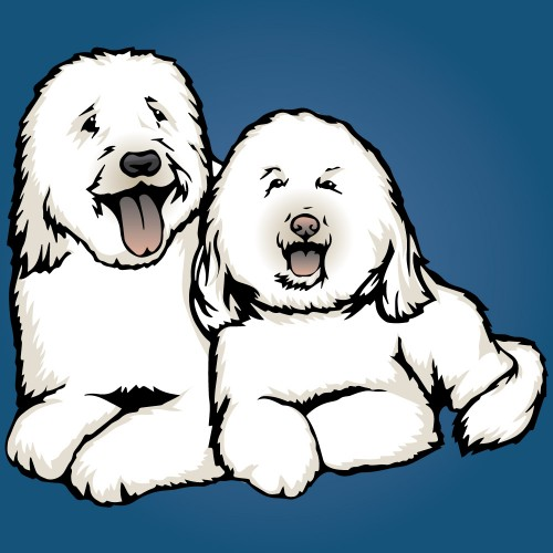 Illustration of groovy goldendoodles