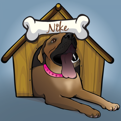 Illustration for The Lazy Pit Bull website. Note that I did not illustrate the dog house, only the dog.