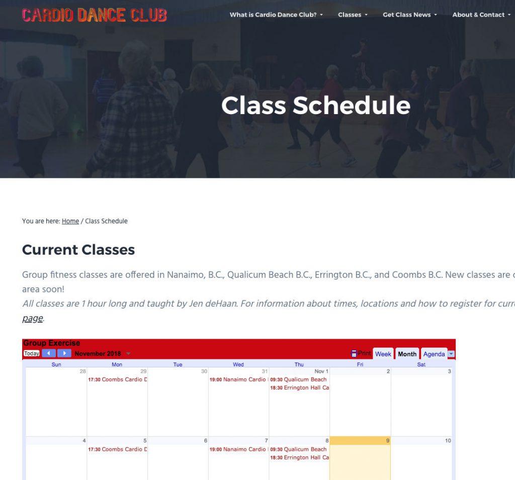 Class calendar example