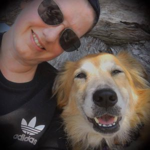 photo of web designer with her dog