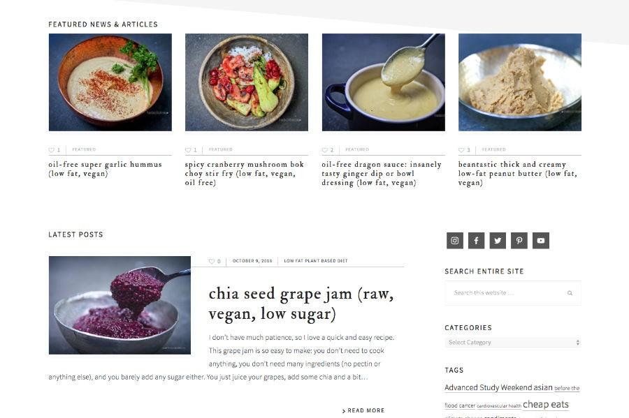 PlantBasedRecipe website recipe feature area