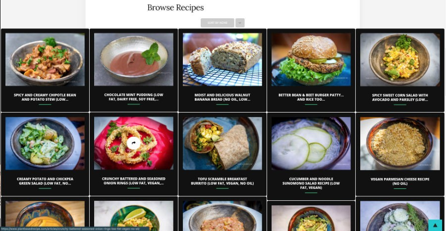 Recipe browse on Plant Based Recipe website.